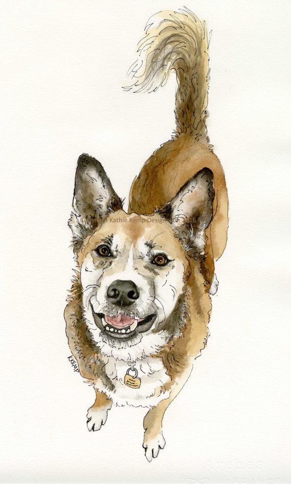 Drawn poodle watercolor Portrait Drawing Birthday Pet CUSTOM