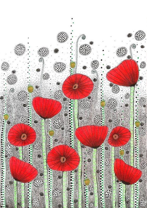 Drawn poppy amapola Print Field 5x12