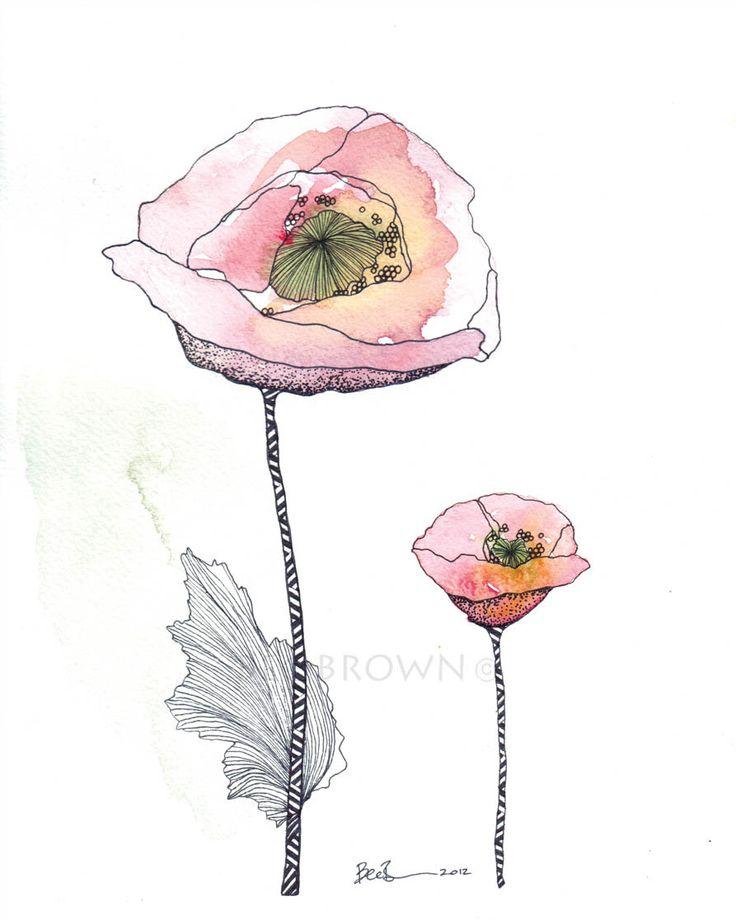 Drawn poppy amapola $25 Papoilas Art Poppies Drawing