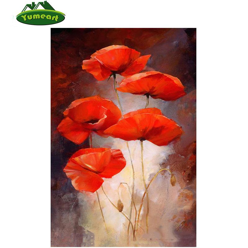 Drawn poppy amapola Kits flores de diamante Flor