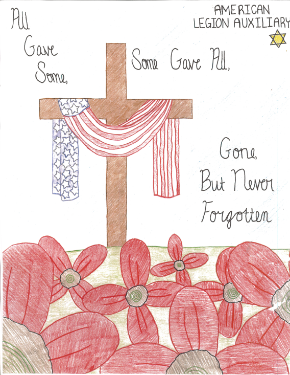 Drawn poppy american legion Award of first place student