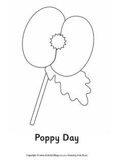 Drawn poppy armistice day Colouring Day Poppy Day Printables