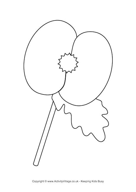 Drawn poppy armistice day Colouring Poppy Day 2 Pages