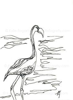 Drawn poppy australian Flamingo ACEO by Drawing of