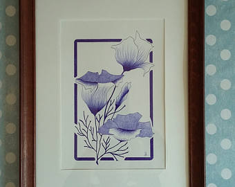 Drawn poppy ballpoint pen Arts pen Blue art art