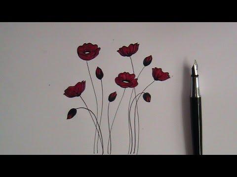 Drawn poppy beginner Flowers poppy flowers how beginners