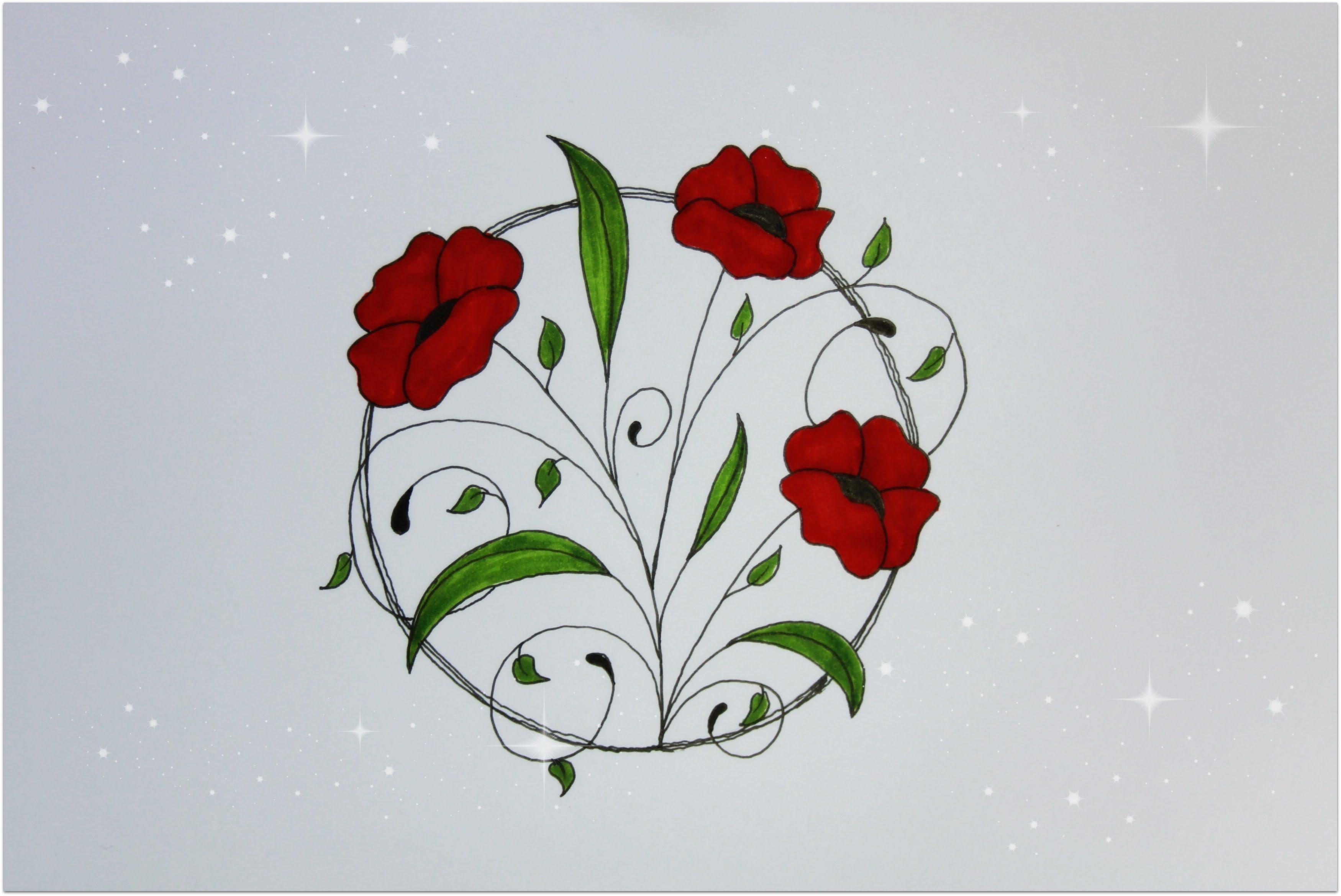 Drawn poppy beginner Flower beginners How How Drawing