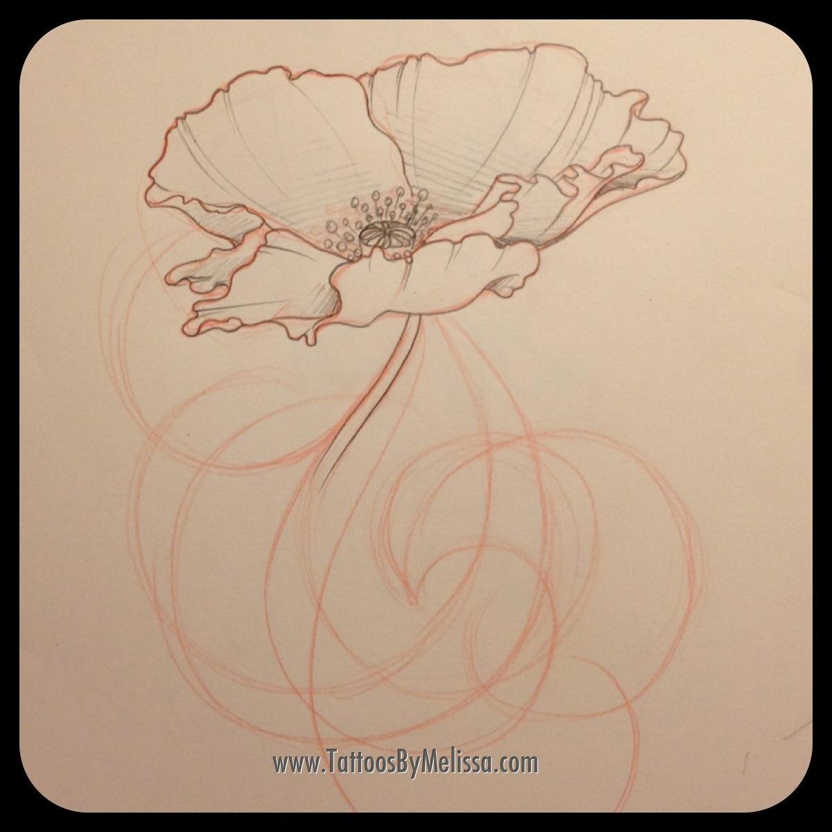 Drawn poppy big flower Flower Leave Tattoo Melissa Capo