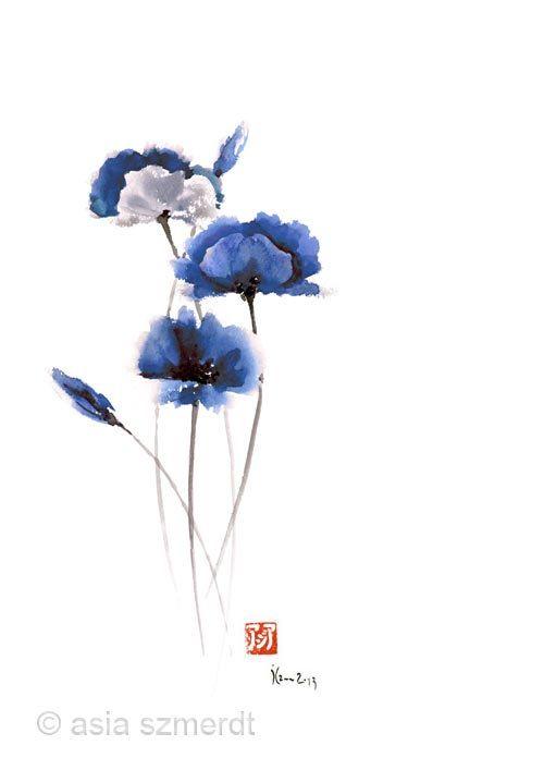 Drawn poppy blue poppy Flower Pinterest POPPIES fine Poppy