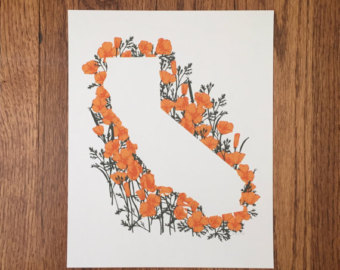 Drawn poppy california state Poppies California Poppies State Etsy