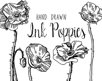 Drawn vintage flower Flowers  Digital Clipart Drawing