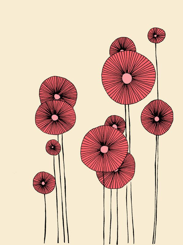 Drawn poppy colourful Draw flower Draw ideas The