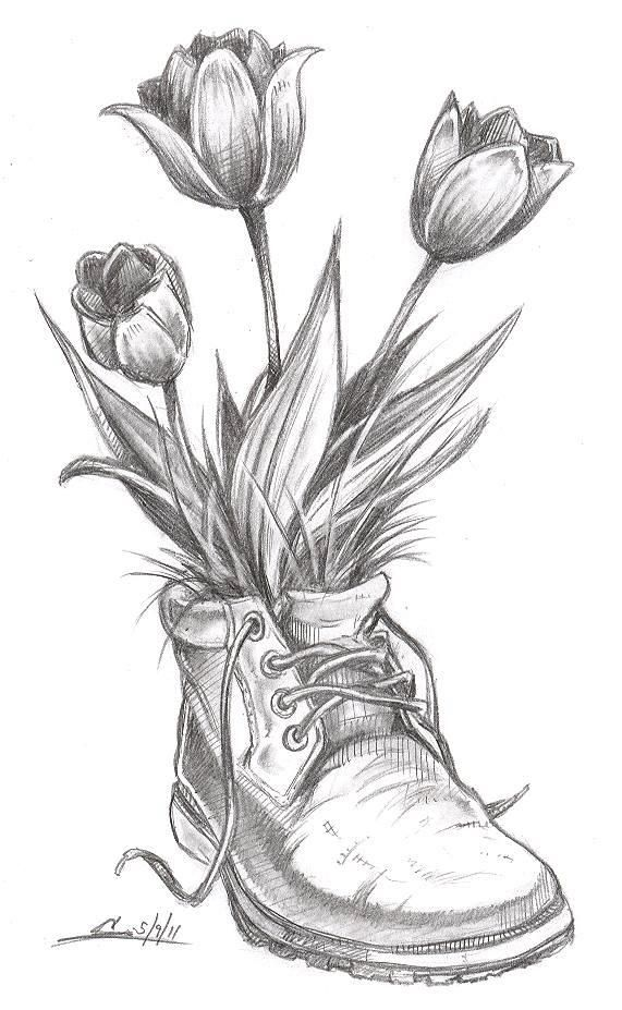 Drawn boots old Pic  ideas flowers boot