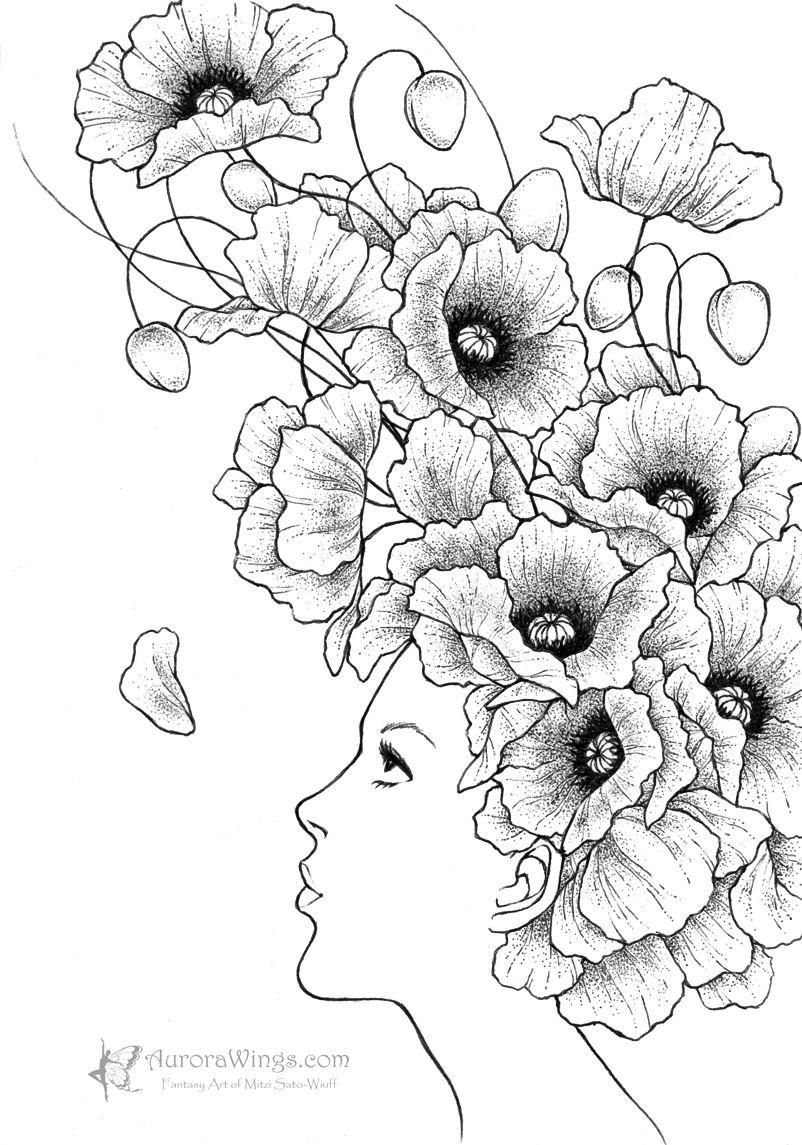 Drawn poppy different flower B/W by deviantart by dancer