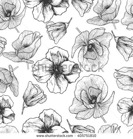 Drawn poppy flower leaf  poppy seamless flower pattern