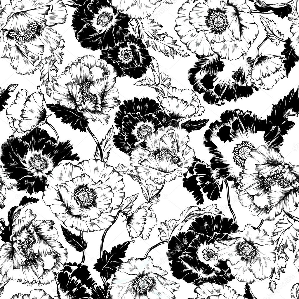 Drawn poppy flower leaves Flowers Photo poppy with pattern
