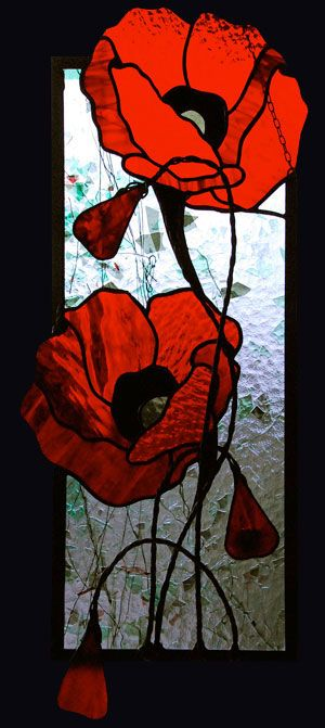 Drawn poppy glass Red on Red Poppies poppies
