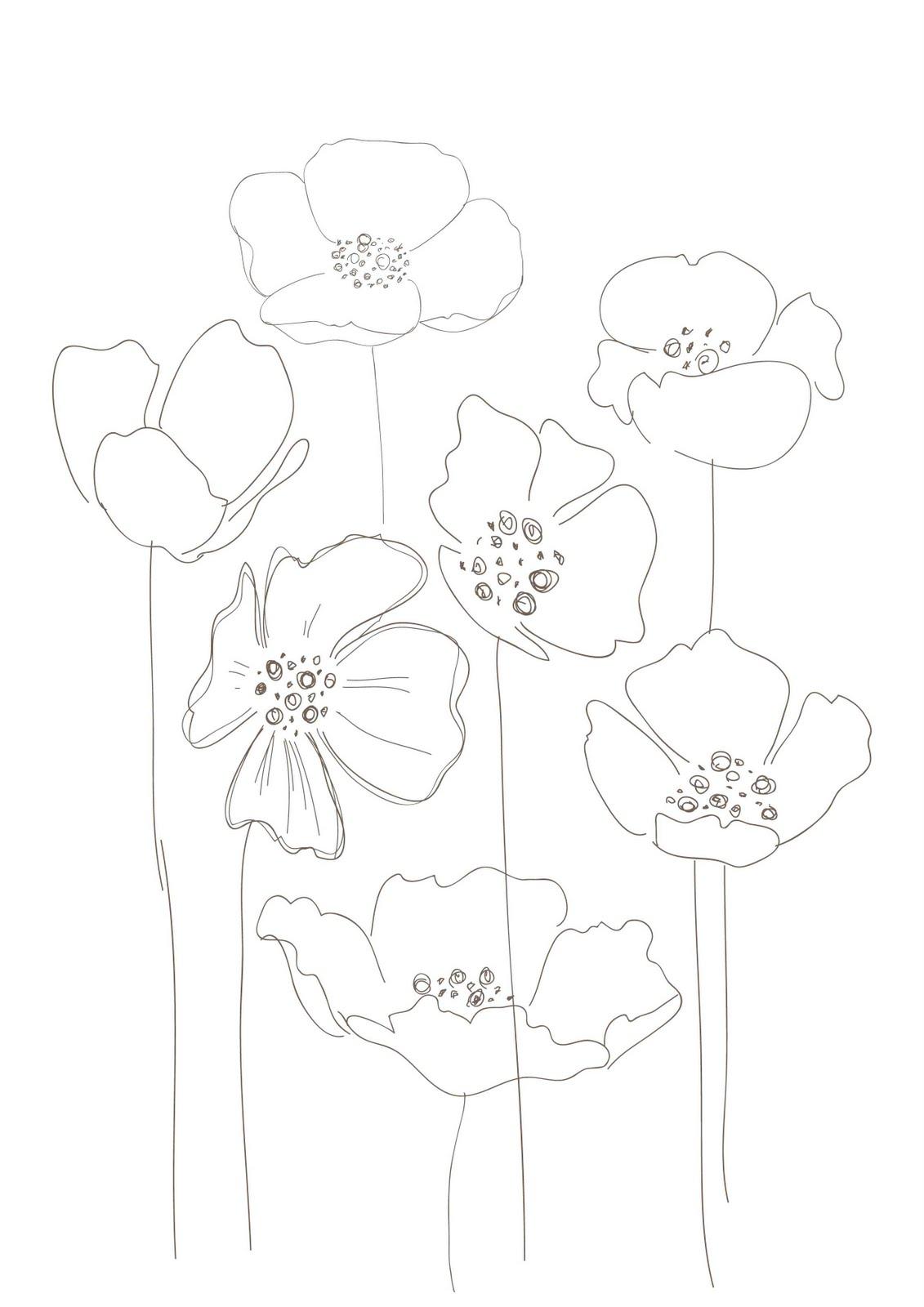 Drawn poppy glass Floral votre un finesse Essayez