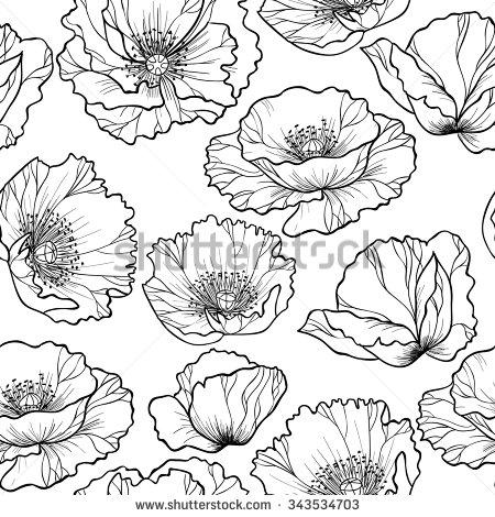 Drawn poppy outline Ideas flower jasmine Search Google