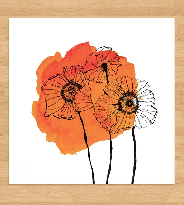 Drawn poppy pen and ink Watercolor Print 25+ ink and