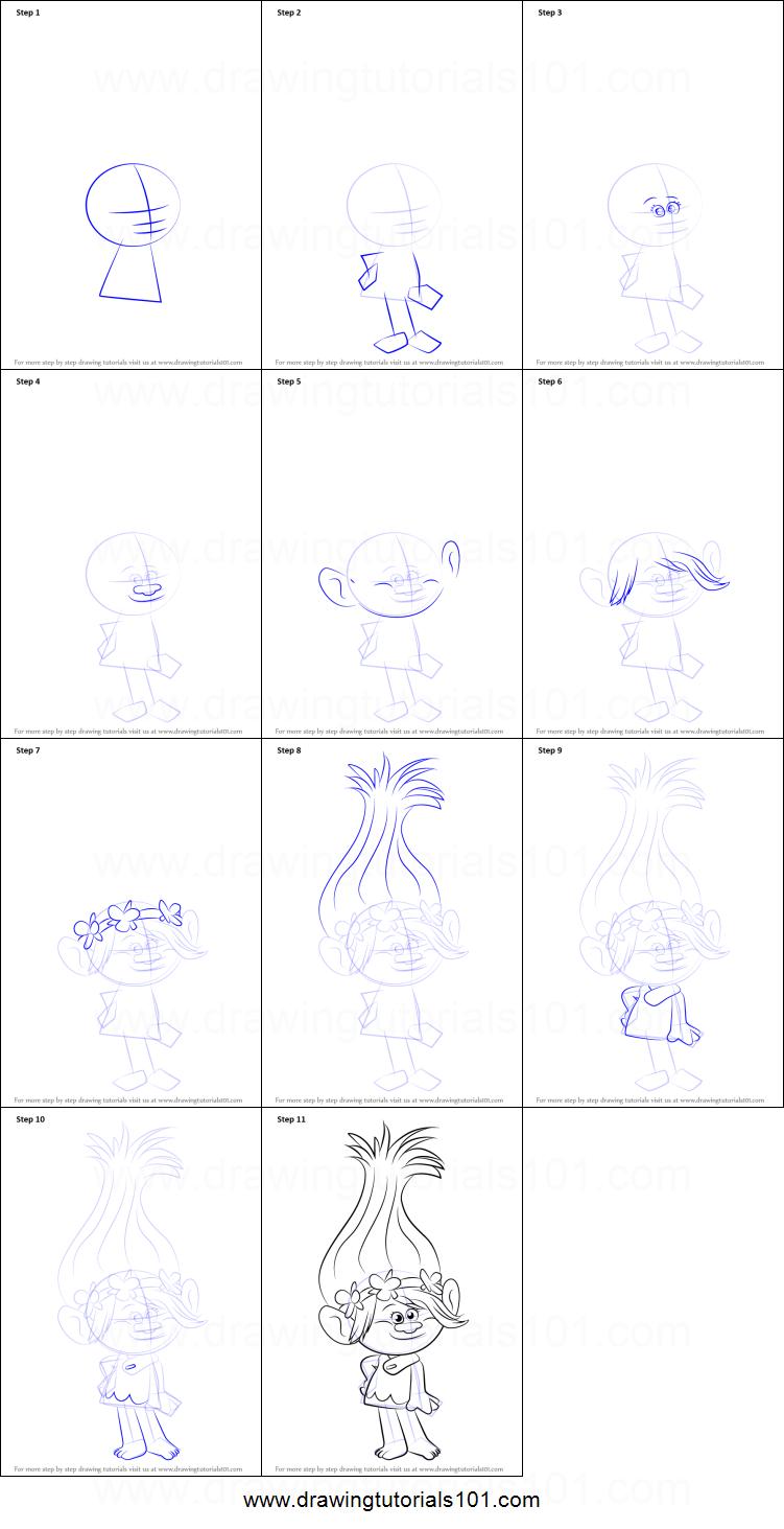 Drawn poppy pencil step by step How Poppy from to Princess