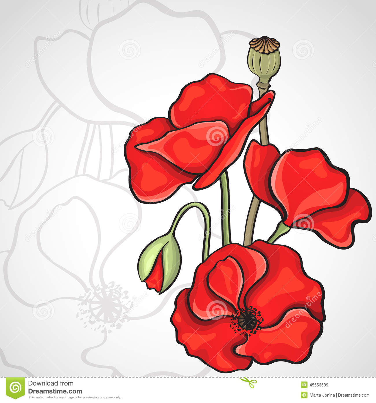 Drawn poppy poppy field Template poppy poppy drawing Search