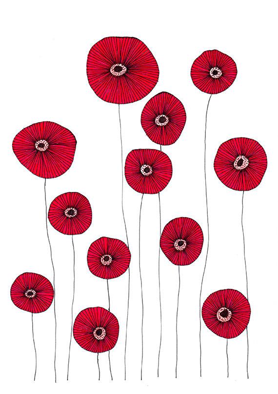 Drawn poppy printable Flowers Original Poppy Drawing Illustration