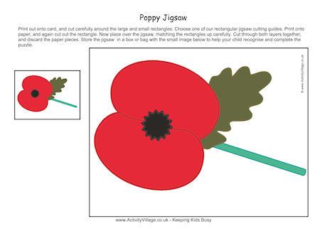 Drawn poppy printable Remembrance Poppy Jigsaw Day Printables