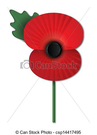Drawn poppy rememberence Of IN islated csp14417495