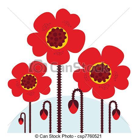 Red Flower clipart poppy flower #5