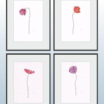 Drawn poppy single Flower on art Shop poppy