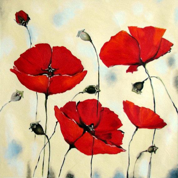 Drawn poppy stroke Palette Painting  Original Poppy