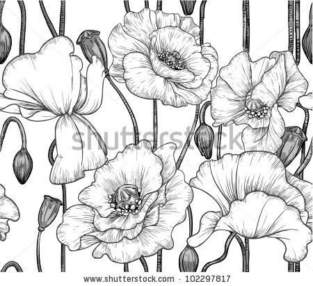 Drawn poppy vector Black of on seamless 1103