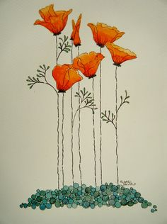 Drawn poppy wall This Original California is Hnadmade