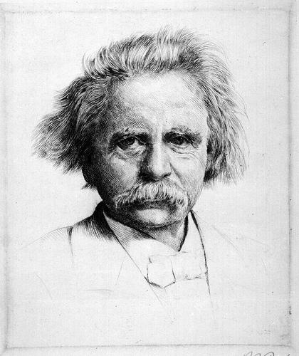 Drawn portrait Grieg photo a drawn Grieg