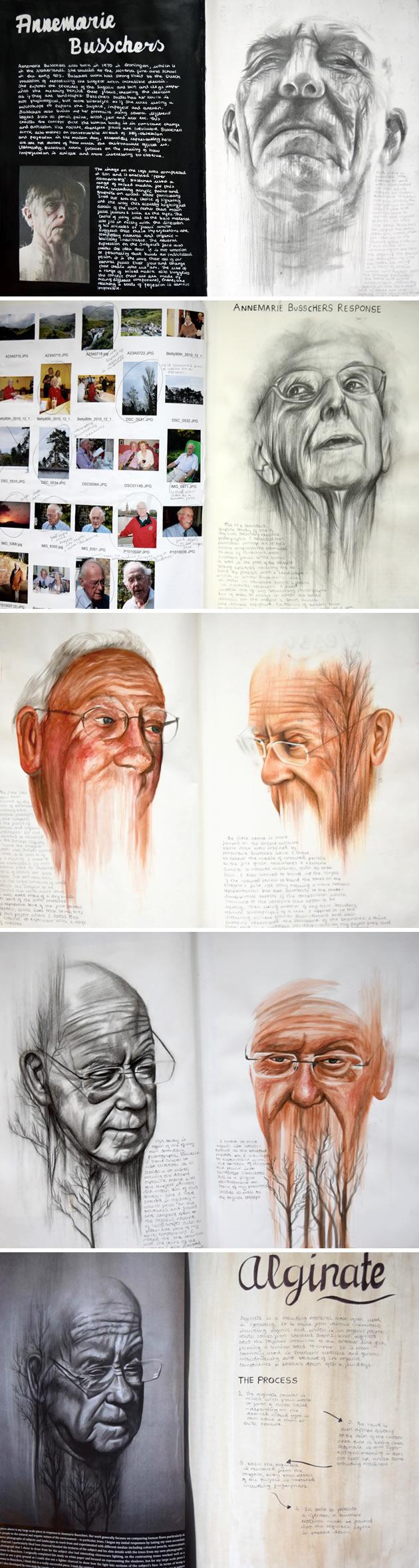 Drawn portrait a level art sketchbook Busschers Level Top Self development