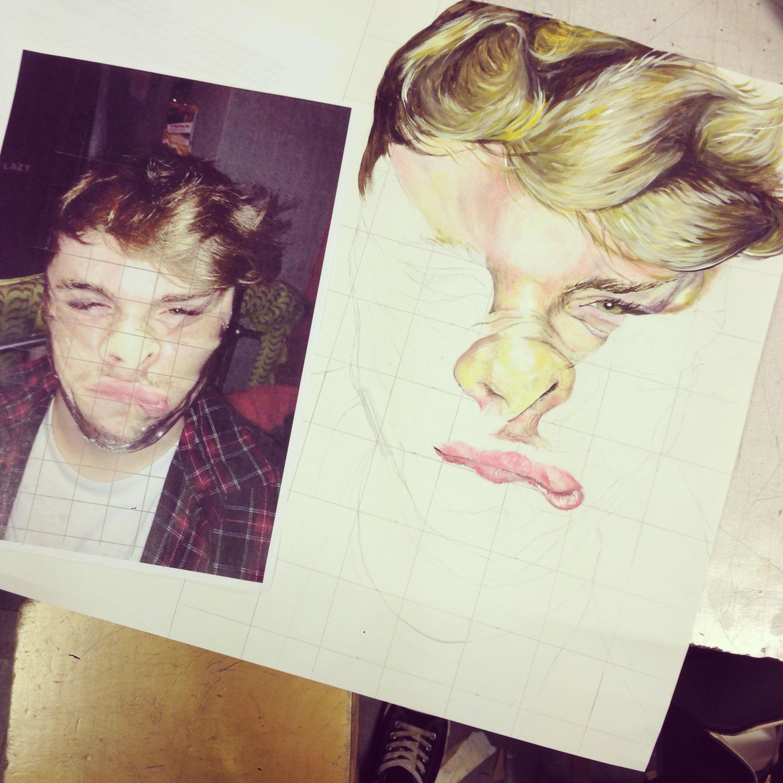 Drawn portrait a level art sketchbook A faces manchester painting friend