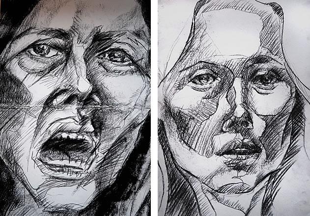 Drawn portrait a level art sketchbook A Monoprints  observational Level