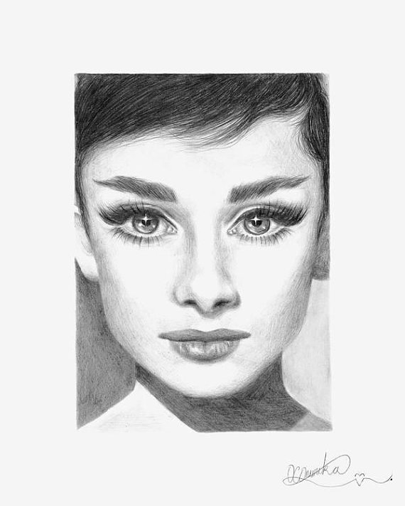 Drawn portrait audrey hepburn The by Print Pencil Drawing