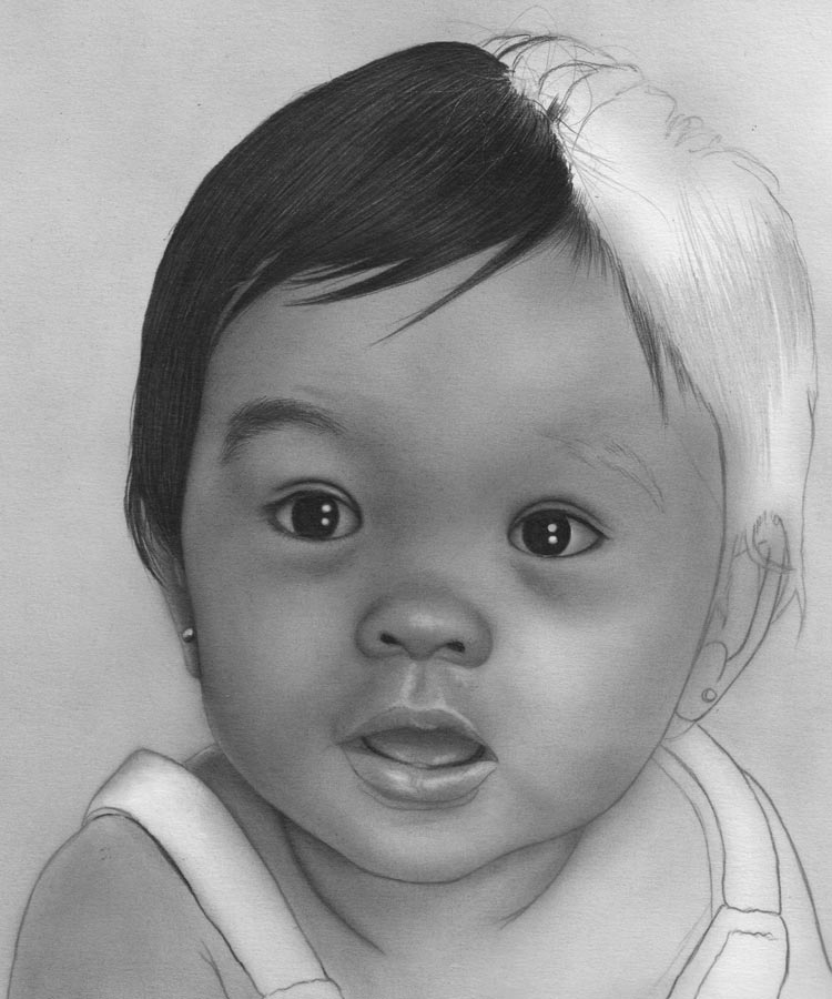 Drawn portrait baby Baby Rose  Mary Graphite