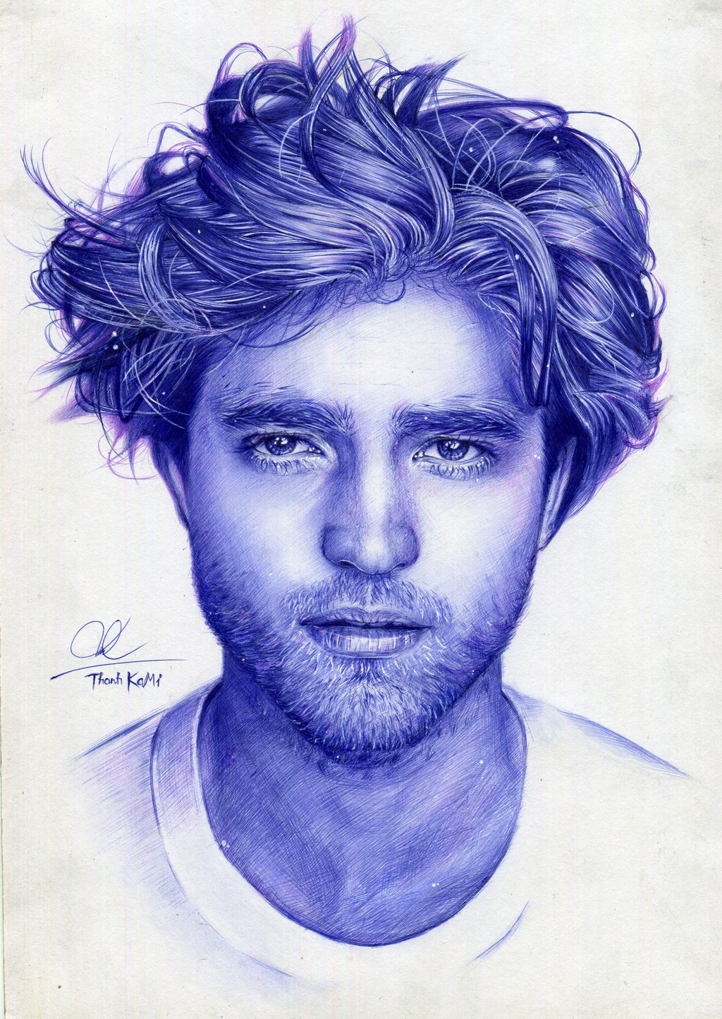 Drawn portrait ballpoint pen Pen Thanh girlfriend Robert on