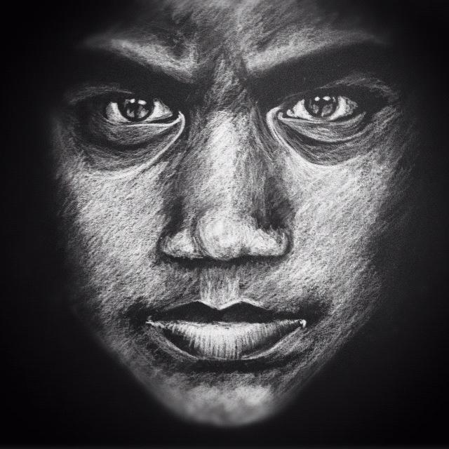 Drawn portrait black and white Upside drawn down paper on