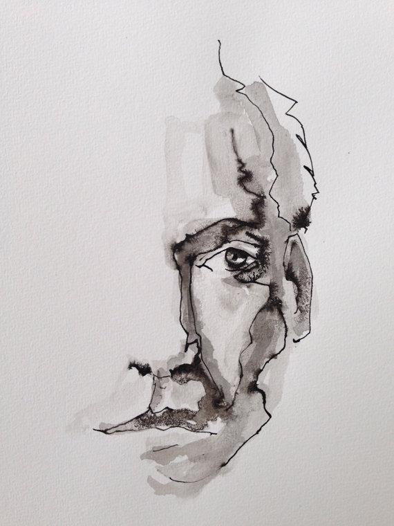 Drawn portrait black pen Male Original art art portrait