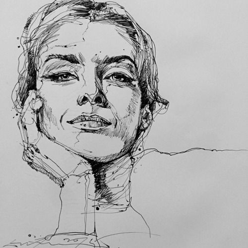 Drawn portrait black pen MATERIALS: liner Chong drawing on