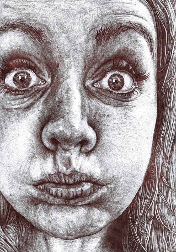 Drawn portrait black pen Ruth Art biro on Bilham