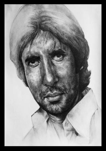 Drawn portrait bollywood Amitabh Bachchan sketch undefined Bachchan