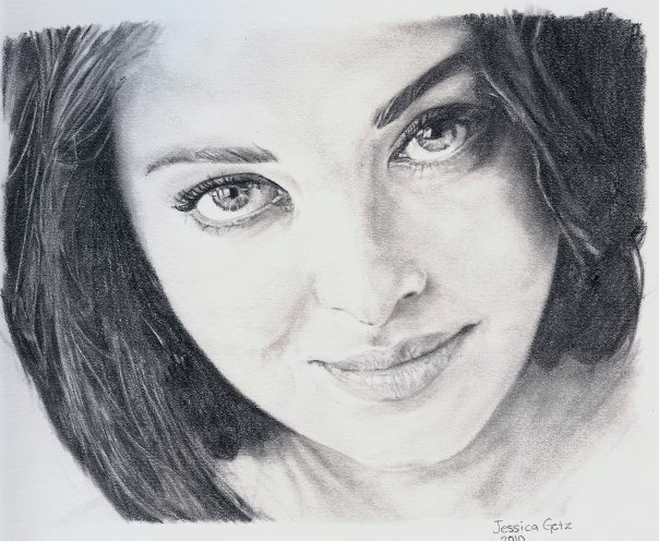 Drawn portrait bollywood Actress Graphite of Rai and