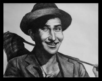 Drawn portrait bollywood Raj Kapoor of  sketch