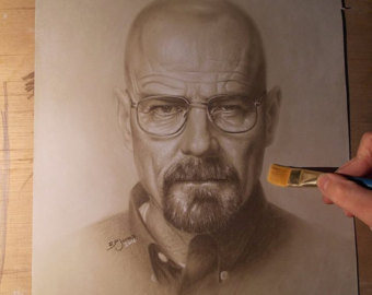 Drawn portrait breaking bad Of bryan item unavailable white