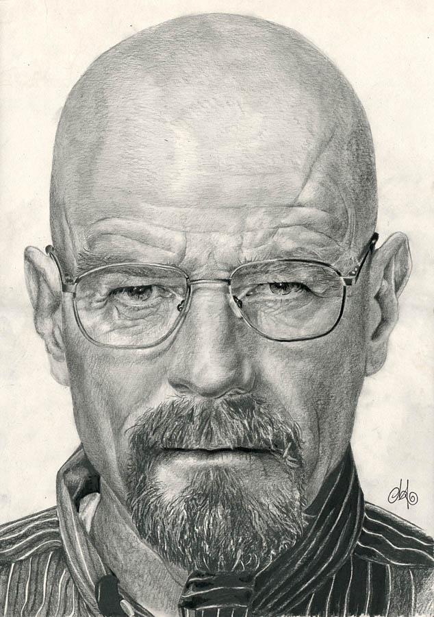 Drawn portrait breaking bad 01 Bad White th3blackhalo on